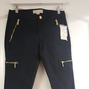 Michael Kors cargo pants with gold zippers nwt